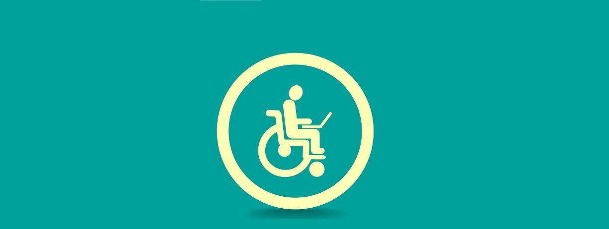 imagem com fundo verde claro e ícone representativo de um usuário de cadeira de rodas.
