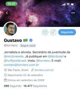 Imagem da capa do twitter do usuário Gustavo Torniero