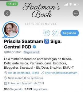 Tela do twitter de Priscilla Saatmam