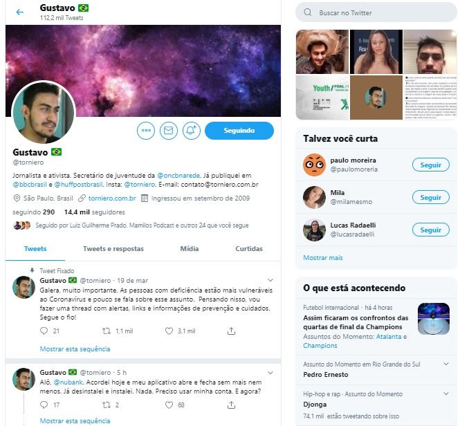 Imagem de uma tela da plataforma twitter, com o perfil do Jornalista e ativista Gustavo Torniero.