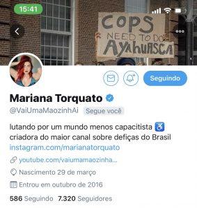 Tela do twitter de Mariana Torquato