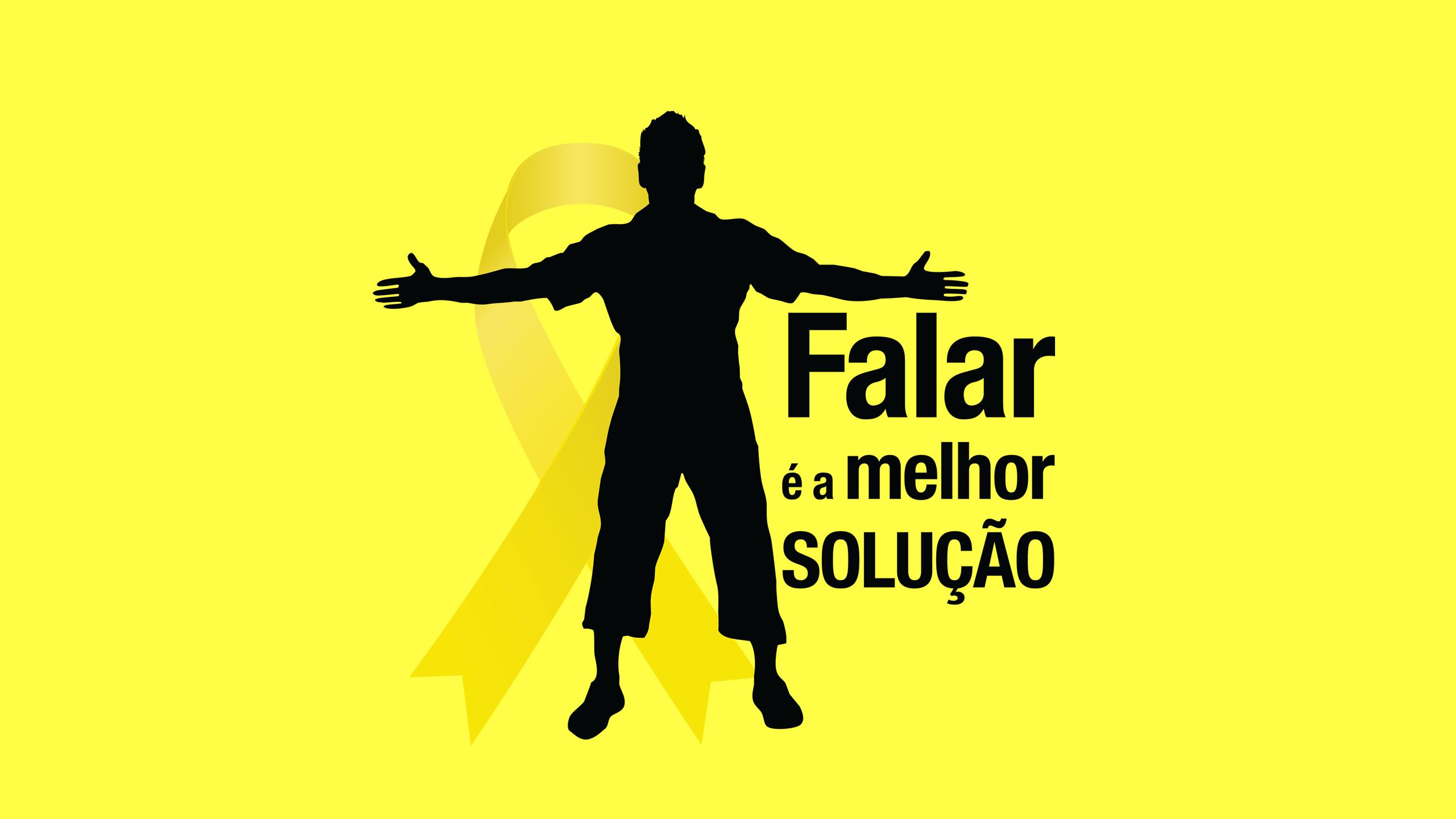 Fundo amarelo, logotipo Setembro Amarelo. Ícone pessoa com braços abertos, laço na cor amarela - texto: Falar é a melhor solução!