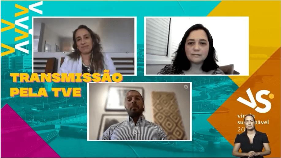 imagem contém tela dividida em 3 quadros com convidados de uma das atividades da Virada Sustentável 2020 e, no canto direito abaixo, a intérprete de libras.
