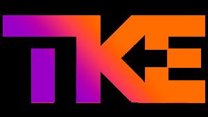 logotipo da empresa TKE, thyssenkrupp Elevadores, em tons de roxo e laranja.